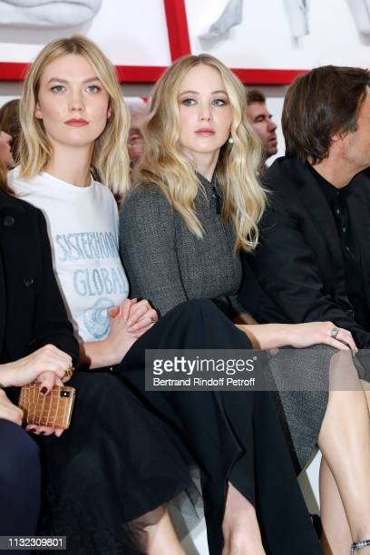 Karlie Kloss and Jennifer Lawrence attend the Christian Dior show as part of the Paris Fashion Week Womenswear Fall/Winter 2019/2020 on February 26...