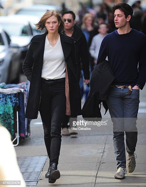 Karlie Kloss and Joshua Kushner are seen in Soho on February 22 2014 in New York City