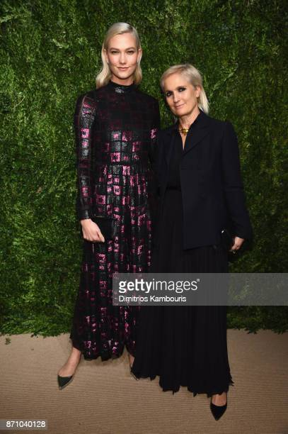 Karlie Kloss and Maria Grazia Chiuri attend the 14th Annual CFDA/Vogue Fashion Fund Awards at Weylin B Seymour's on November 6 2017 in the Brooklyn...