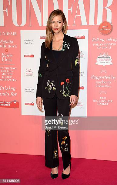 Karlie Kloss arrives at The Naked Heart Foundation's Fabulous Fund Fair in London at Old Billingsgate Market on February 20 2016 in London England