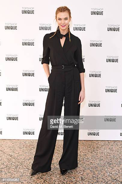 Karlie Kloss arrives at the Topshop Unique LFW AW16 show at The Tate Britain on February 21 2016 in London England
