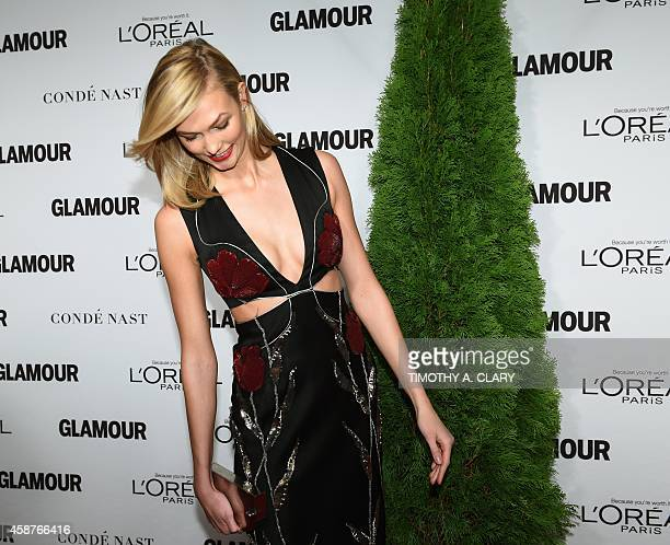 Karlie Kloss arrives for the 2014 Glamour Women of the Year Awards in New York November 10 2014 sponsored by LOréal Paris to honor courageous and...