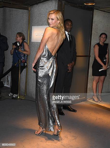 Karlie Kloss arrives for the Tom Ford Autumn/Winter 2016 Menswear and Womenswear Collection presentation in New York on September 7, 2016 / AFP /...