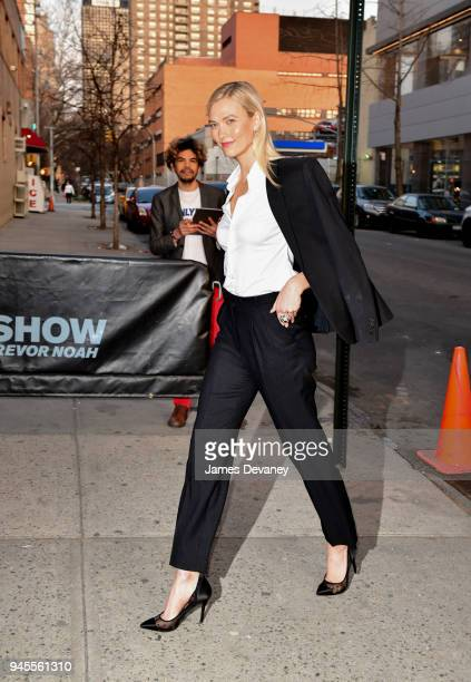 Karlie Kloss arrives to the 'The Daily Show With Trevor Noah' on April 12 2018 in New York City