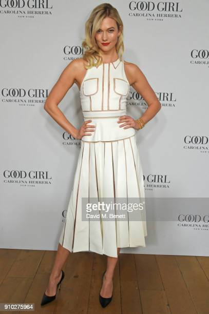 Karlie Kloss attends the launch of Carolina Herrera's new fragrance 'Good Girl' with campaign face Karlie Kloss at One Horse Guards on January 25...
