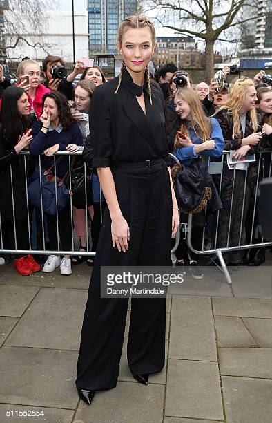 Karlie Kloss attends the Topshop Unique show during London Fashion Week Autumn/Winter 2016/17 at on February 21 2016 in London England
