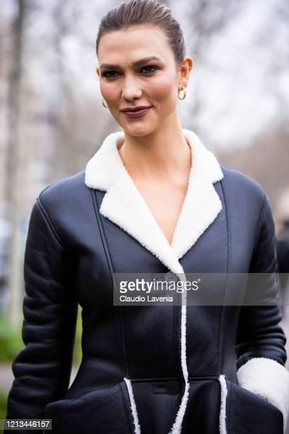 Karlie Kloss, beauty detail, is seen outside Loewe, during Paris Fashion Week - Womenswear Fall/Winter 2020/2021 : Day Five on February 28, 2020 in...