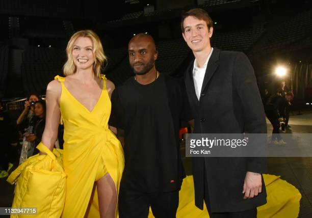 Karlie Kloss designer Virgil Abloh and Alexandre Arnault attend the Off White show as part of the Paris Fashion Week Womenswear Fall/Winter 2019/2020...