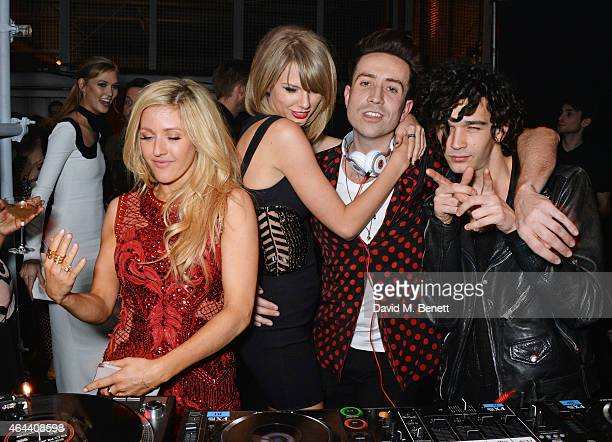 Karlie Kloss Ellie Goulding Taylor Swift Nick Grimshaw and Matt Healy attend the Universal Music Brits party at The Soho House PopUp on February 25...