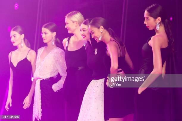 Karlie Kloss Gigi Hadid Joan Smalls and models walk the runway at Brandon Maxwell Fall Winter 2018 Collection at the Appel Room on February 11 2018...