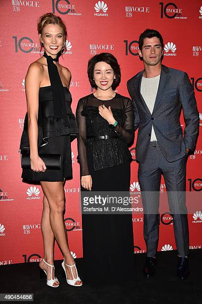 Karlie Kloss Glory Zhang and Sean O'Pry attend Vogue China 10th Anniversary at Palazzo Reale on September 28 2015 in Milan Italy