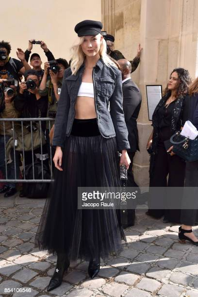 Karlie Kloss is seen arriving at Dior fashion show during Paris Fashion Week Womenswear Spring/Summer 2018 on September 26, 2017 in Paris, France.
