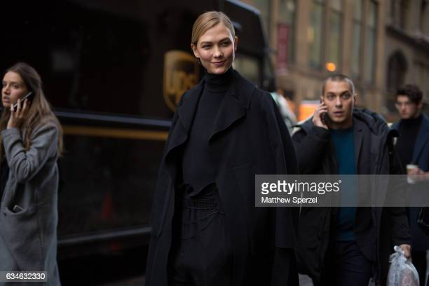 Karlie Kloss is seen attending Calvin Klein during New York Fashion Week wearing an all black outfit on February 10 2017 in New York City