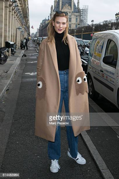 Karlie Kloss is seen leaving the 'Angelina' tea room on March 9 2016 in Paris France