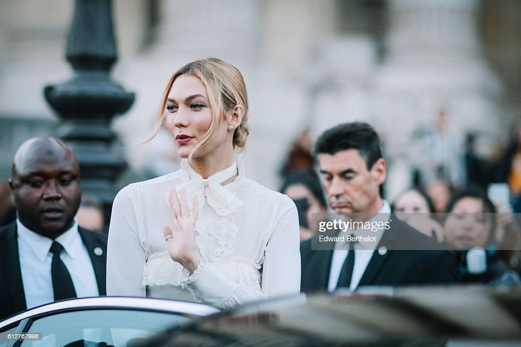 Karlie Kloss is seen, outside the Shiatzy Chen show, during Paris Fashion Week Spring Summer 2017, at Grand Palais, on October 4, 2016 in Paris, France.