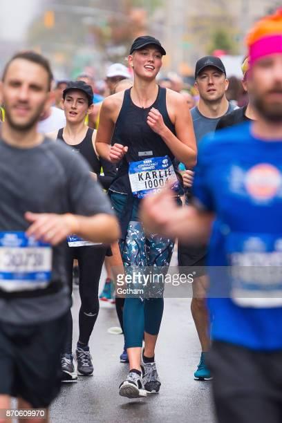 Karlie Kloss is seen runing the TCS New York City Marathon on November 5 2017 in New York City