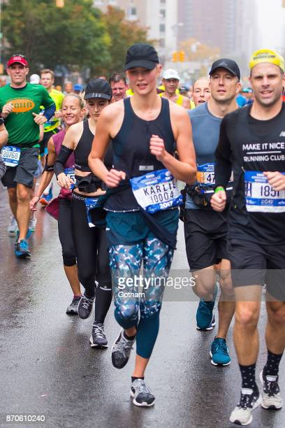 Karlie Kloss is seen runing the TCS New York City Marathon on November 5 2017 in New York City