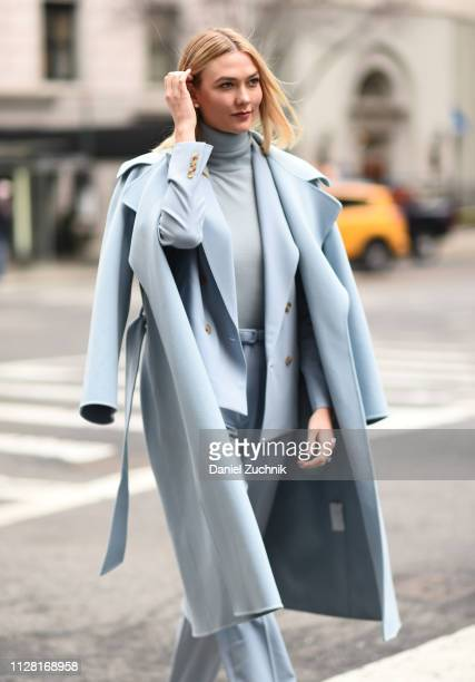 Karlie Kloss is seen wearing a baby blue Ralph Lauren outfit outside the Ralph Lauren show during New York Fashion Week: Women's Fall/Winter 2019 on...
