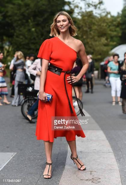 Karlie Kloss is seen wearing a Carolina Herrera dress outside the Carolina Herrera show during New York Fashion Week S/S20 on September 09 2019 in...