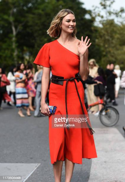 Karlie Kloss is seen wearing a Carolina Herrera dress outside the Carolina Herrera show during New York Fashion Week S/S20 on September 09, 2019 in...