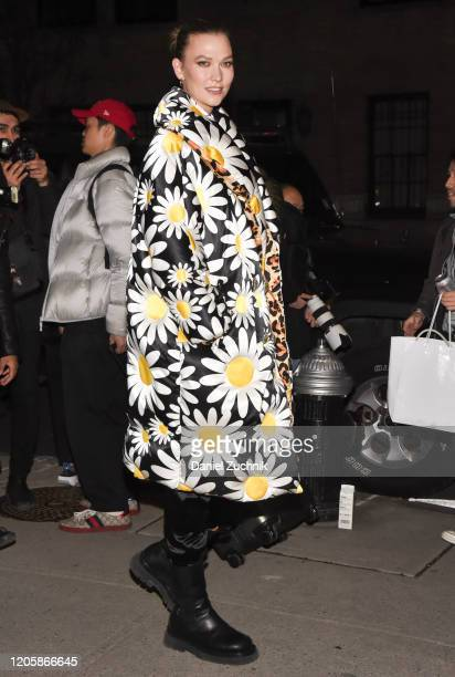 Karlie Kloss is seen wearing a Moncler floral puffer coat outside the Marc Jacobs show during New York Fashion Week A/W20 on February 12 2020 in New...