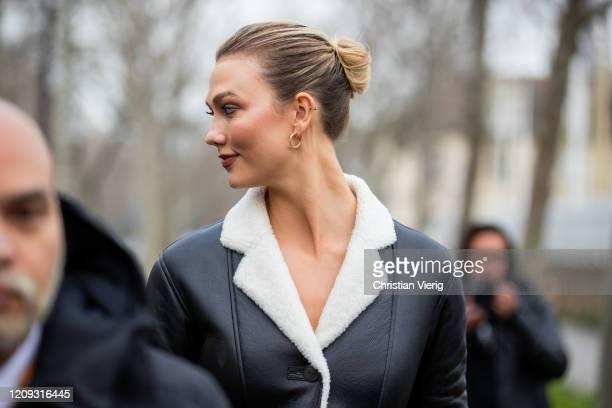 Karlie Kloss is seen wearing black white shearling coat outside Loewe during Paris Fashion Week - Womenswear Fall/Winter 2020/2021 : Day Five on...