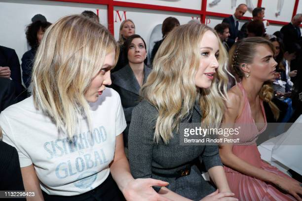Karlie Kloss Jennifer Lawrence and Cara Delevingne attend the Christian Dior show as part of the Paris Fashion Week Womenswear Fall/Winter 2019/2020...