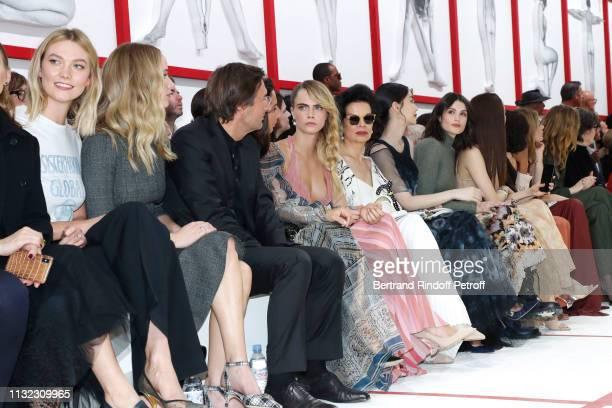 Karlie Kloss Jennifer Lawrence CEO of Dior Pietro Beccari his wife Elisabetta Beccari Cara Delevingne Bianca Jagger Angelababy Gemma Arterton attend...