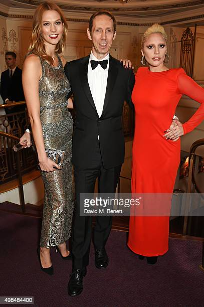 Karlie Kloss Nick Knight winner of the Isabella Blow Award for Fashion Creator and Lady Gaga attend the British Fashion Awards in partnership with...