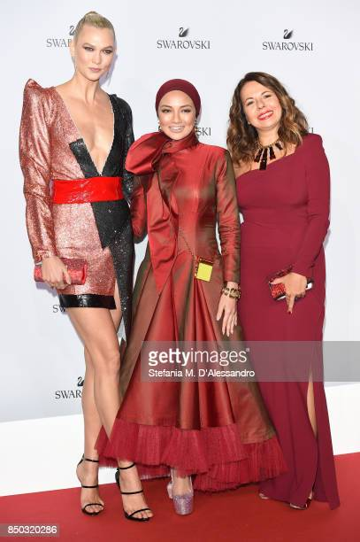 Karlie Kloss Noor Neelofa Mohd Noor and Nathalie Colin attend Swarovski Crystal Wonderland Party on September 20 2017 in Milan Italy
