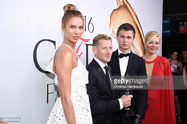 Karlie Kloss Paul Andrew Ansel Elgort and Nadja Swarovski attend the 2016 CFDA Fashion Awards at the Hammerstein Ballroom on June 6 2016 in New York...