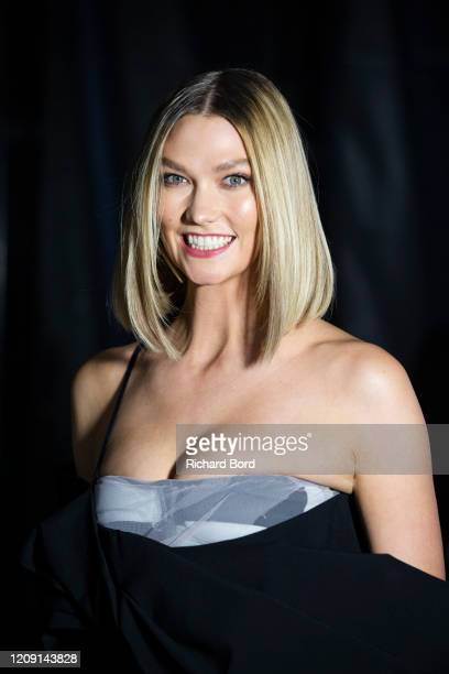 Karlie Kloss poses backstage before the Off-White Womenswear Fall/Winter 2020/2021 show at AccorHotels Arena as part of Paris Fashion Week on...