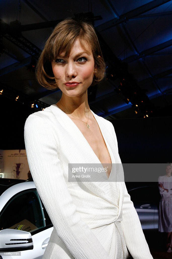 Karlie Kloss (Mercedes-Benz Topmodel) poses for Mercedes-Benz Fashion Week Autumn/Winter 2013/14 at the Brandenburg Gate on January 17, 2013 in Berlin, Germany.