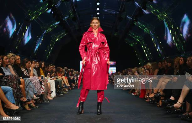 Karlie Kloss showcases designs by Ellery on the runway at the David Jones Autumn Winter 2017 Collections Launch at St Mary's Cathedral Precinct on...