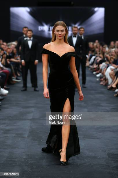 Karlie Kloss showcases designs by Rachel Gilbert during rehearsal ahead of the David Jones Autumn/Winter 2016 Fashion Launch at St Mary's Cathedral...