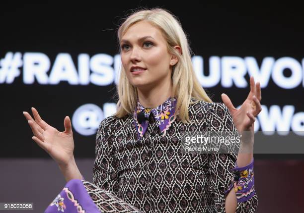 Karlie Kloss speaks onstage during The 2018 MAKERS Conference at NeueHouse Hollywood on February 6 2018 in Los Angeles California