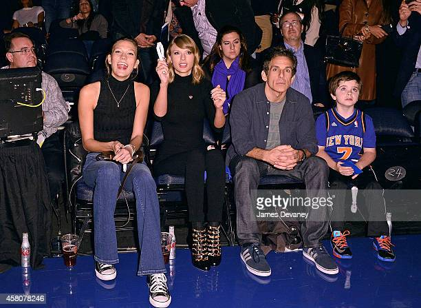 Karlie Kloss Taylor Swift Ben Stiller and son Quinlin Stiller attend the Chicago Bulls vs New York Knicks game at Madison Square Garden on October 29...