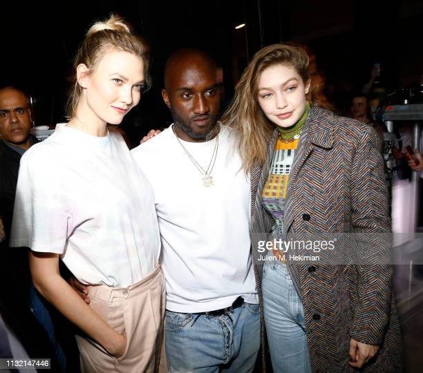 "Karlie Kloss, Virgil Abloh and Gigi Hadid attend the launch of Evian and Virgil Abloh's limited-edition ""One Drop can make a Rainbow"" collection at..."