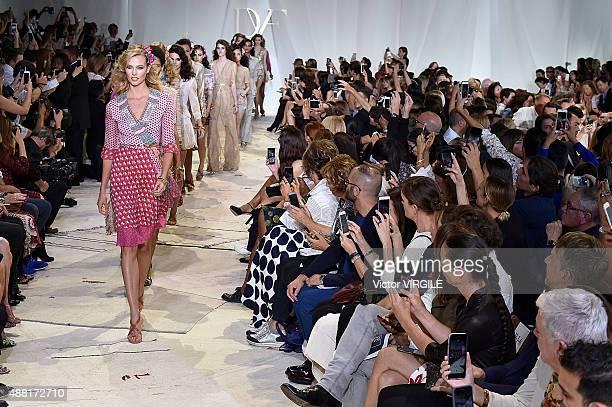 3aa115bca34bc Karlie Kloss walks the runway at the Diane Von Furstenberg Spring Summer  2016 fashion show during