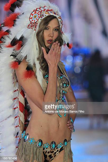 Karlie Kloss walks the runway during the 2012 Victoria's Secret Fashion Show at the Lexington Avenue Armory on November 7 2012 in New York City