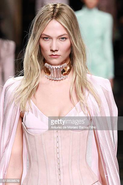 Karlie Kloss walks the runway during the Balmain show as part of the Paris Fashion Week Womenswear Fall/Winter 2016/2017 on March 3 2016 in Paris...