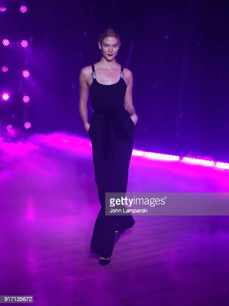 Karlie Kloss walks the runway during the Brandon Maxwell show during February 2018 New York Fashion Week at Appel Room on February 11 2018 in New...
