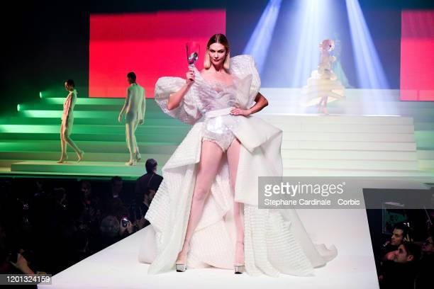 Karlie Kloss walks the runway during the Jean-Paul Gaultier Haute Couture Spring/Summer 2020 show as part of Paris Fashion Week at Theatre Du...
