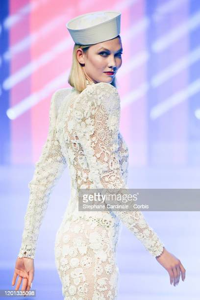 Karlie Kloss walks the runway during the JeanPaul Gaultier Haute Couture Spring/Summer 2020 show as part of Paris Fashion Week at Theatre Du Chatelet...