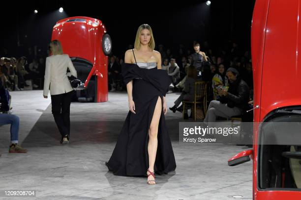 Karlie Kloss walks the runway during the Off-White show as part of Paris Fashion Week Womenswear Fall/Winter 2020/2021 on February 27, 2020 in Paris,...