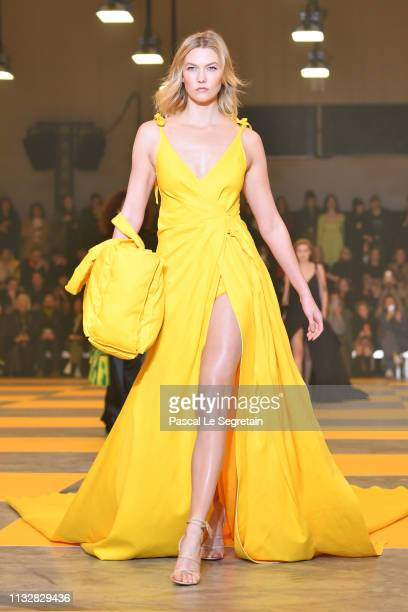 Karlie Kloss walks the runway during the OffWhite show as part of the Paris Fashion Week Womenswear Fall/Winter 2019/2020 on February 28 2019 in...