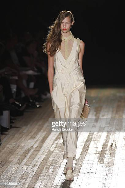 Karlie Kloss wearing Proenza Schouler Spring 2009 at the Park Avenue Armory on September 8 2008 in New York City
