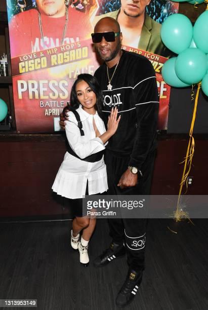 Karlie Redd and Lamar Odom attend Celebrity Boxing Press Conference: Battle of Love & Hip Hop on April 22, 2021 in Atlanta, Georgia.