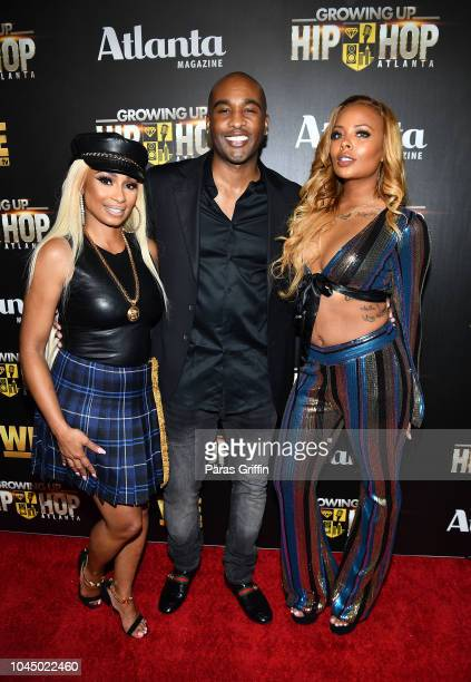 Karlie Redd Datari Turner and Eva Marcille attend 'WE tv Celebrates The Return Of Growing Up Hip Hop Atlanta' at Club Tongue Groove on October 2 2018...