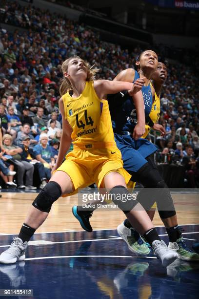 Karlie Samuelson of the Los Angeles Sparks boxes out Maya Moore of the Minnesota Lynx on May 20 2018 at Target Center in Minneapolis Minnesota NOTE...